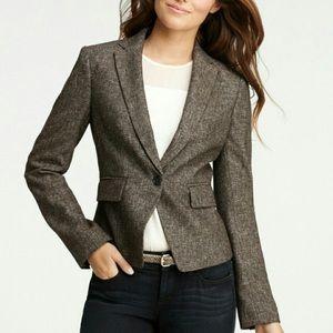 Ann Taylor Wool Blend Tweed Blazer Jacket 0
